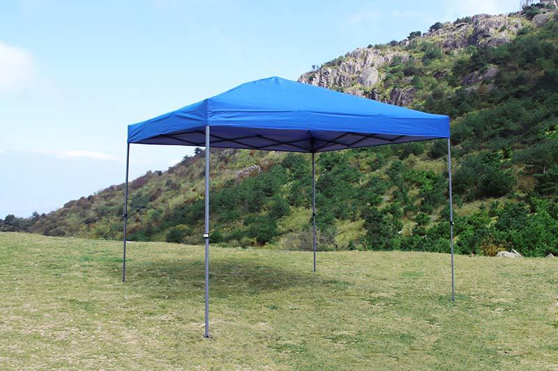 10x10 one-hand push right-angle folding awning